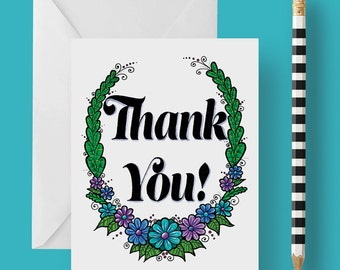 Thank You Greeting Card 4.25 x 5.5 inches Blank Inside with Envelope