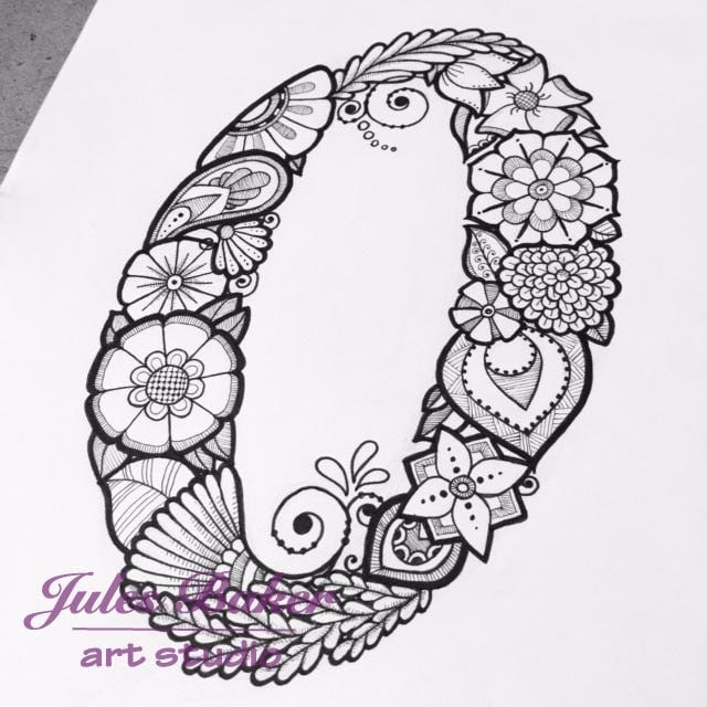 Digital Coloring Page Letter O From