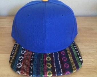Blank Bold Blue Aztec Snapback