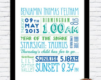 Personalised New Arrival, Baby Boy, Baby Girl Birth Name Word Art Print, On the day you were born CHRISTENING GIFT