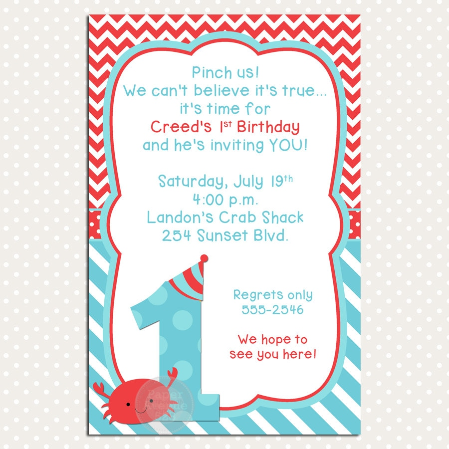Crab 1st Birthday Party Invitations Premade Card Digital