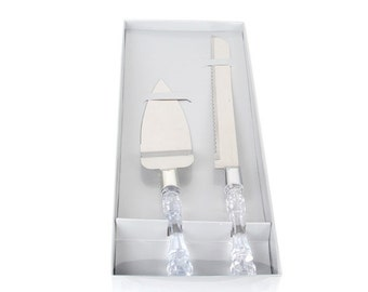 Elegant Cake Server & Knife Set, Wedding Cake Server Set, Bridal Cake Server Set for Wedding