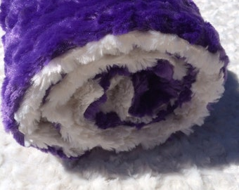 Purple and White Minky Lovey/ Security Blanket
