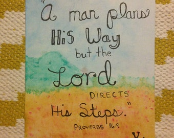 Proverbs 16:9 Watercolor Painting