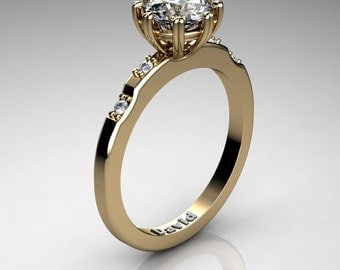 Classic 14K Yellow Gold 1 Carat White Sapphire Diamond Solitaire Engagement Ring R1005-14KYGDWS