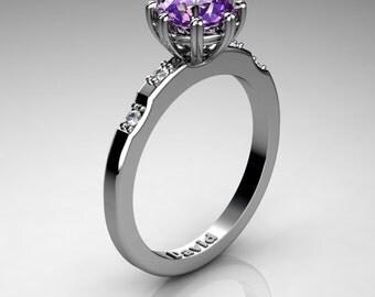 Classic 950 Platinum 1 Carat Amethyst Diamond Solitaire Engagement Ring R1005-PLATDAM
