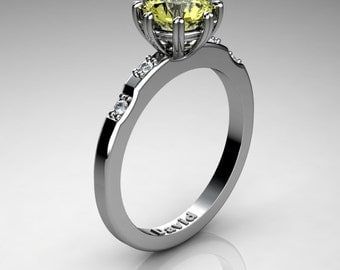 Classic 14K White Gold 1 Carat Yellow Topaz Diamond Solitaire Engagement Ring R1005-14KWGDYT