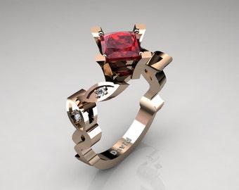 Nature Inspired 14K Rose Gold 2,5 Carat Princess Ruby Diamond Engagement Ring R1014-14KRGDR