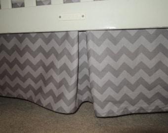 Two Tone Gray Chevron Crib Skirt with Pleat