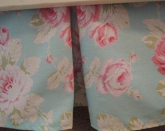 Aqua Roses Crib Skirt with Pleat