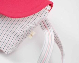Pink and Black Striped Clutch Handbag