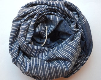 TURKISH TOWEL - handwoven bath towel / body towel / yoga towel / peshtemal / baby blanket / navy  white strips / spa pool beach 022