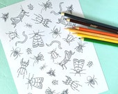 Printable CREEPY CRAWLERS/Bugs Coloring Page- Digital File- Instant Download spider, ant, moth, beetle, worm, grasshopper