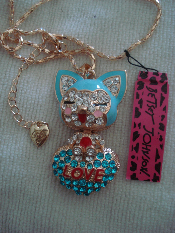 blue cat necklace betsey johnson
