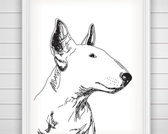 Bull Terrier Dog Art Print Home / Printable Wall Art / Pet Lover / Wall Art Prints /  Dog Illustration / Home Decor