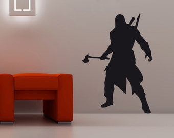 New Assassin's Creed Connor Wall Decal Black Wall Stickers Large 83cm X 58cm