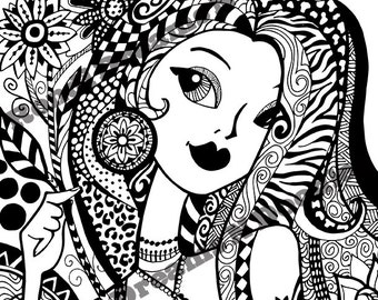 Flirty and Floral Zendoodle Coloring Page