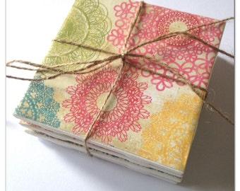 multi-color doily vintage scrapbook paper/tile coasters