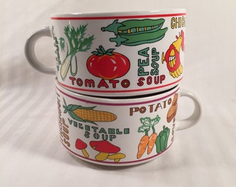 Vintage Soup Mugs-Ceramic Soup Bowls-Vegetable Design On White Ceramic-Soup Names-1970s Kitchen