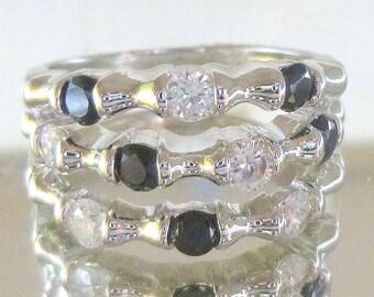 Triple row black and white created diamond engagement wedding ring 2.0 ct