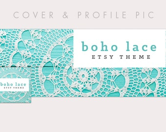 Lace + Blue Wood Timeline Cover + Profile Picture | Boho Lace | Cover, Profile Picture, Branding, Web Banner, Blog Header