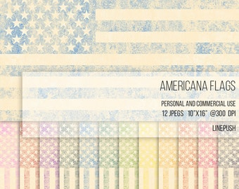 Americana Flags Digital Papers Scrapbooking Background Stars and Stripes Wallpaper Vintage Rustic Art Pink Black Flag July 4th Veteran's day