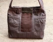 Upcycled denim bag, casual denim bag, reused denim bag, handbag, tote bag