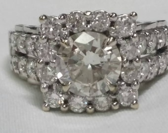 3.87ct Diamond 18k White Gold Ring