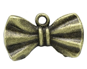 5 Antiqued Bronze Bow Tie Charms | Bow Ties are Cool  | 2031