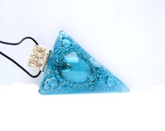 Pendant Triangle bubbles Turquoise glass Fusing