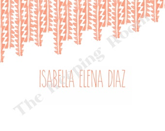 Striped Flat Note With Name, Personalized Stationery Set