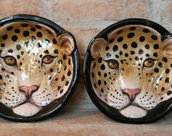 Vintage hand painted decorative plates Jaguar