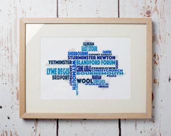 Dorset Word Map - Framed Print