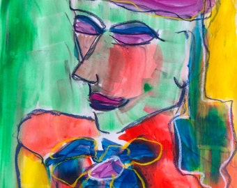 original modern abstract art expressionism portrait figurative female woman figure drawing painting
