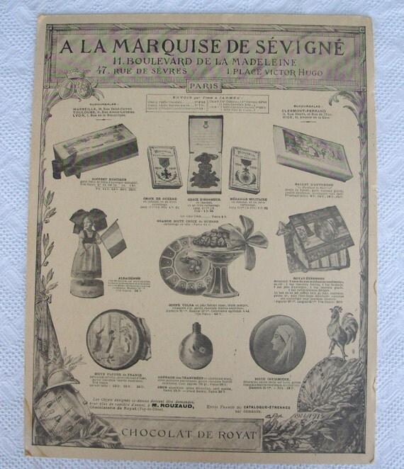 original 1914 chocolate advert a la marquise de la sevigne