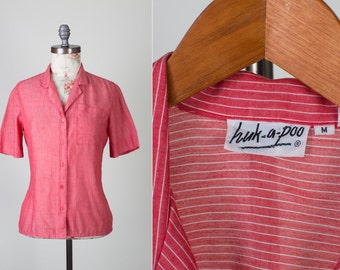 70s Huk-A-Poo Cotton Short Sleeve Button up Red with White Stripes shirt