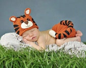 Baby Tiger 2 Piece Crochet Outfit, Newborn-6 month Photo Prop FREE Shipping