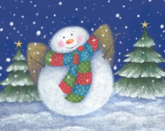 Happy Snowman Painting, Snowman Art Print, Wall Decor