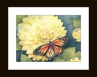 Butterfly Painting, Butterfly Art Print,  Dahlia Flower, Watercolor Print, Butterfly Art