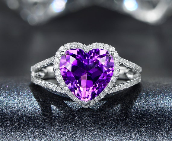 heart cut engagement ring amethyst ring heart amethyst split. Black Bedroom Furniture Sets. Home Design Ideas
