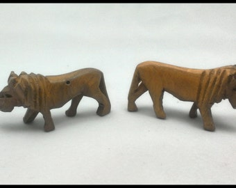 Set of 2 Hand-Carved Wooden Lions