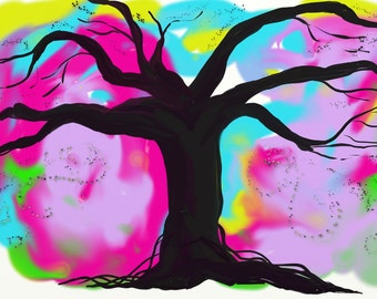 The Magical Tree- Giclee Print, digital art, watercolor,pastels, pinks, turquoise, purples, wall decor, bedroom decor, nighttime, black
