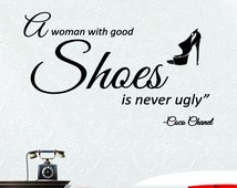 Coco Chanel A Woman With Good Shoes Wall Art Vinyl Transfer Decal Mural Sticker