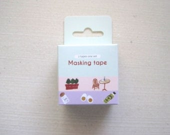 Cute Whimsical Washi, Japanese breakfast cafe kawaii tape, set of 2