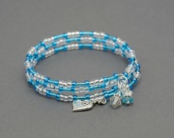 Memory Wire Bracelet Design Aqua Blue bugle beads by SovaJKJewellery