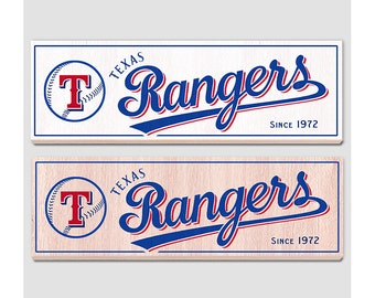 """Texas Rangers wood sign - 7"""" x 22"""" - Texas Rangers fan wall hanging - Boys room Man cave Sports Bar decor - Fathers Day gift for Dad"""