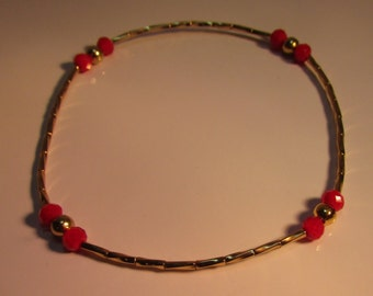 Gold Filled Bracelet with Deep Red Beads