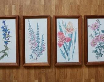 4 pretty vintage flower images - framed - glass