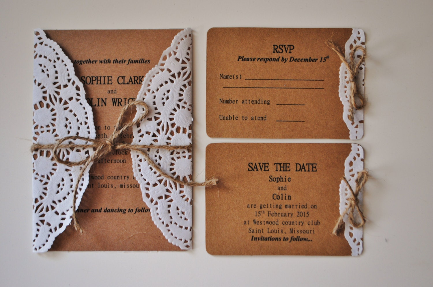 Lace Doily Wedding Invitation Rustic Doily By MyVintageLaceShop