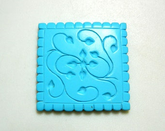 Turquoise Jewelry, Turquoise Findings, Hand Carved, Filigree Findings, Stone Carving, Gemstone Carving, 39mm, Focal Pendant